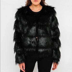 NWT Anthropologie FUR by URF Black Tiered Fur Coat